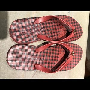 Coach flip flop thing red black rubber